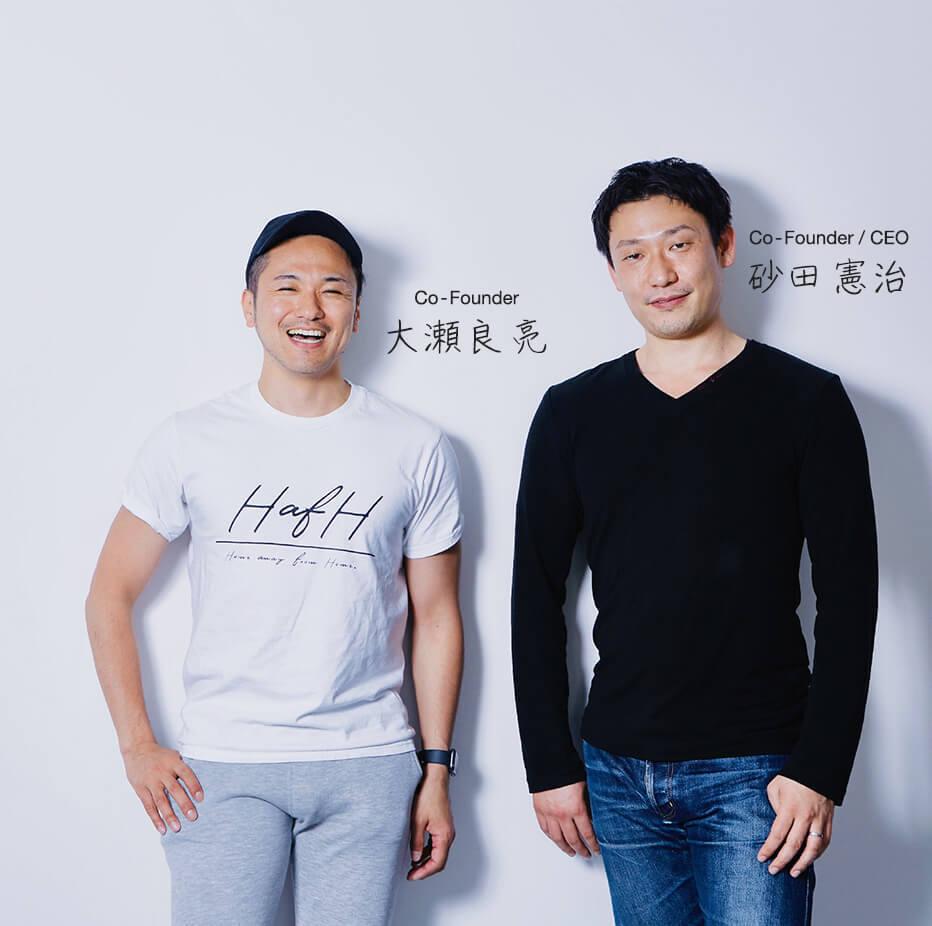 共同創業者:大瀬良亮 / 共同創業者・代表取締役:砂田憲治